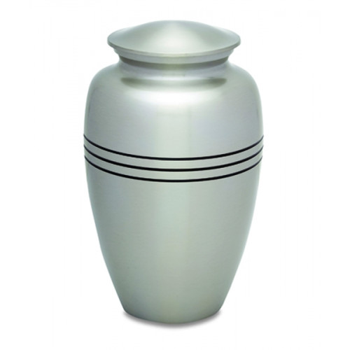Silver Stripes Brass Cremation Urn for Ashes