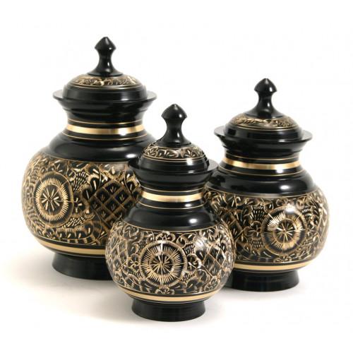 Elegant Black Engraved Brass Urn