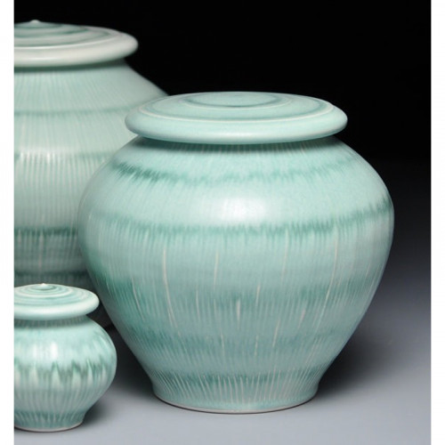 Fields of Grass ceramic cremation urn for ashes