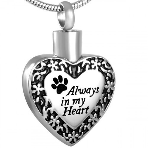 Always In My Heart Paw Print Cremation Pendant