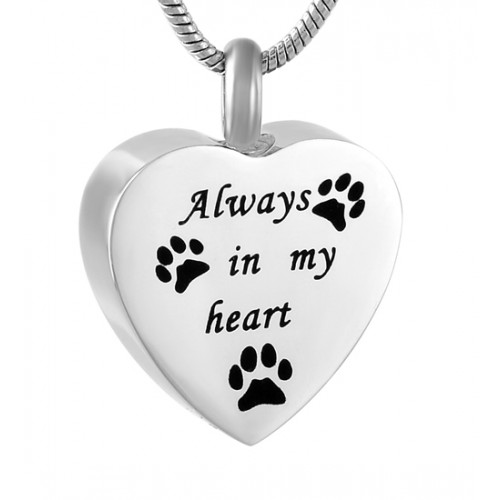 Always In My Heart Pet Paws Cremation Pendant