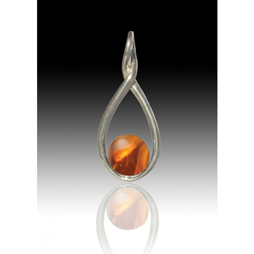 Melody Twist Cremation Pendant - Amber - Sterling Silver