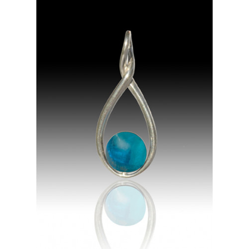 Melody Twist Cremation Pendant - Aquamarine - Sterling Silver