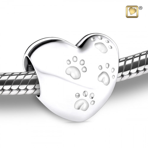 Silver LoveHeart with Paws Cremation Pendant