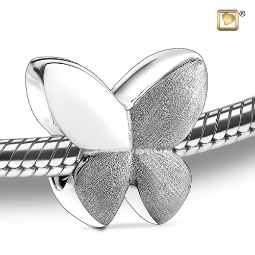 Silver Butterfly Two Tone Cremation Bead