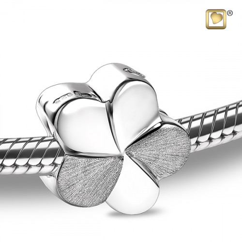 Silver Flower Bloom Two Tone Cremation Bead