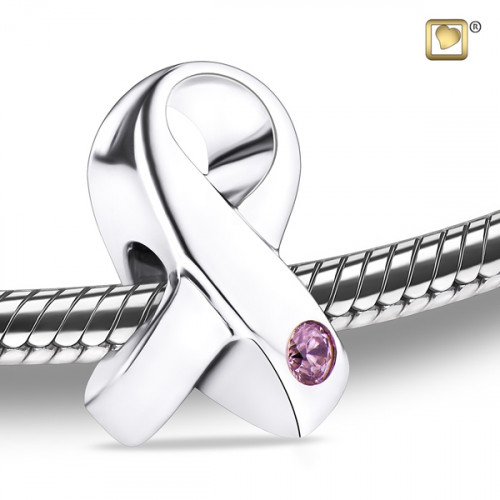 Silver Awareness Cremation Bead with Pink Crystal