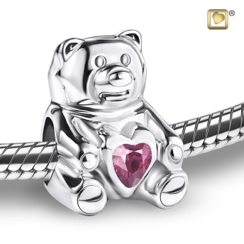 CuddleBear Cremation Bead with Pink Crystal