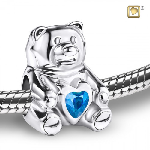 CuddleBear Cremation Bead with Blue Crystal