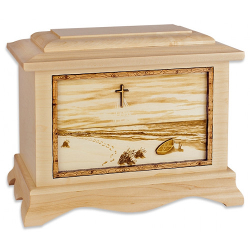 Footprints in the Sand Cremation Urn for Ashes - Maple