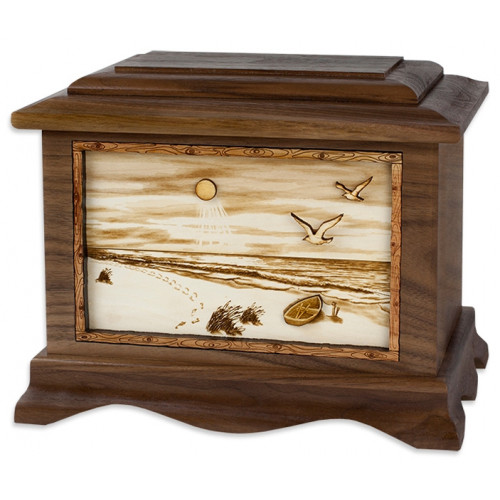 A Walk on the Beach Cremation Urn for Ashes with 3D Inlay Wood Art - Walnut