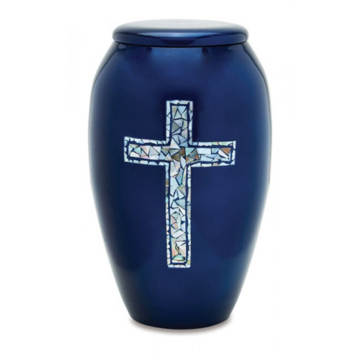 Blue Inlaid Mosiac Cross Brass Urn