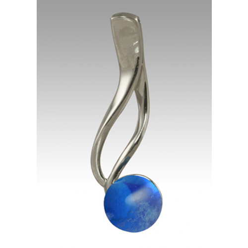 Tempo Glass Bead Cremation Pendant - Blue - Sterling Silver