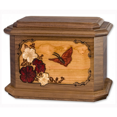 Butterfly Cremation Urn for Ashes with 3D Inlay Wood Art - Walnut