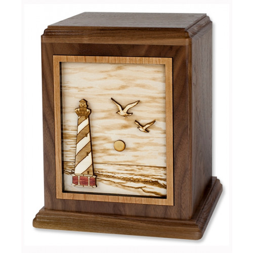 Cape Hatteras Lighthouse Urn with 3D Inlay Wood Art - Walnut