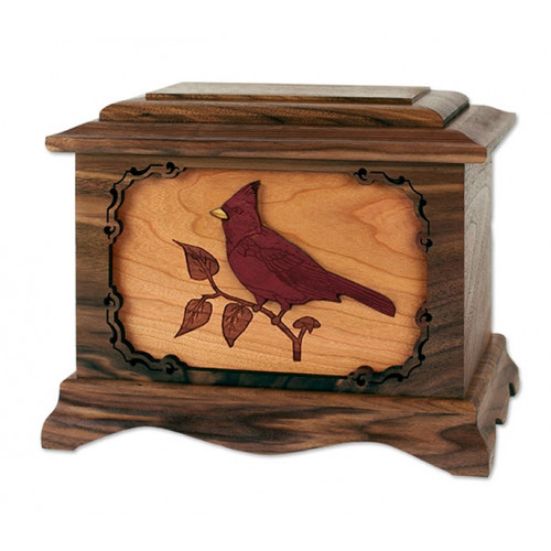 Cardinal Cremation Urn for Ashes with 3D Inlay Wood Art - Walnut