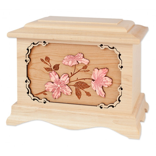 Cherry Blossoms Cremation Urn for Ashes with 3D Inlay Wood Art - Maple