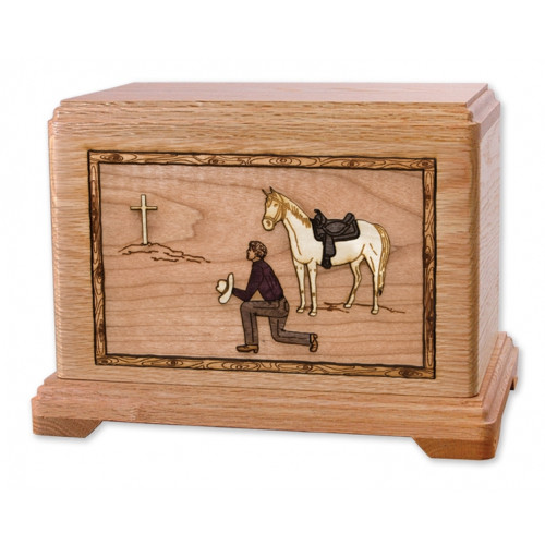 Cowboy Kneeling at Cross Cremation Urn for Ashes with 3D Inlay Wood Art