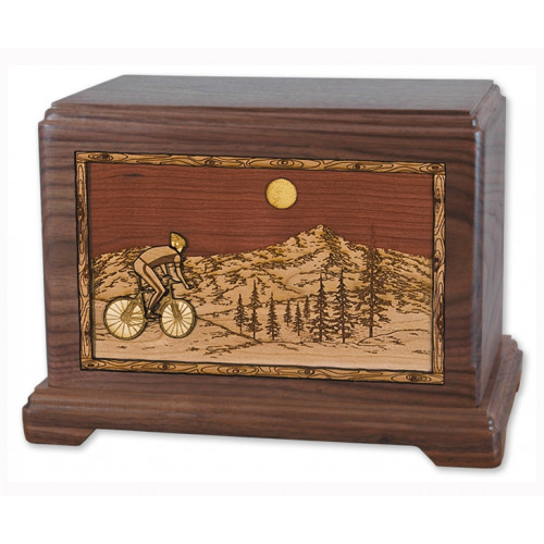 Bicycle Cremation Urn for Ashes with 3D Inlay Wood Art - Walnut