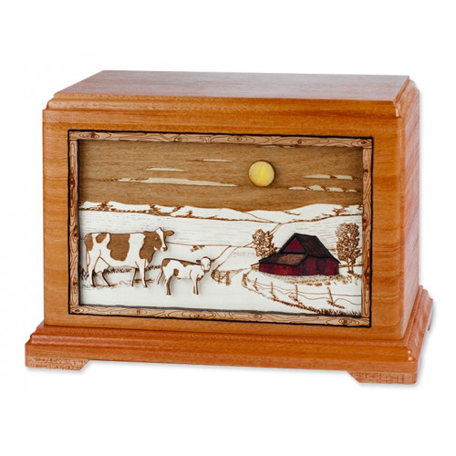 Dairy Cows Cremation Urn for Ashes with 3D Inlay Wood Art - Mahogany