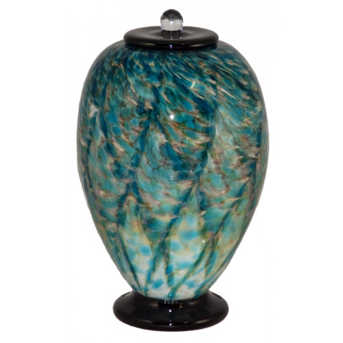 Deco Aegean Hand Blown Glass Cremation Urn