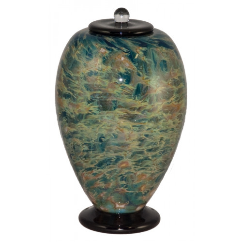 Deco Sky Hand Blown Glass Cremation Urn