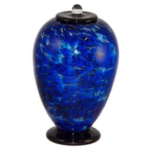 Deco Water Hand Blown Glass Cremation Urn