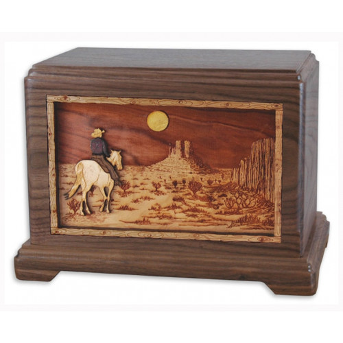 Desert Horse Cremation Urn for Ashes with 3D Inlay Wood Art - Walnut