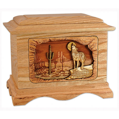 Desert Moon Cremation Urn for Ashes with 3D Inlay Wood Art - Oak