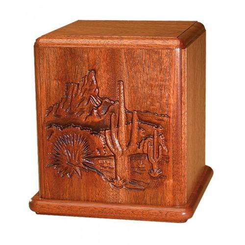 Desert Scene Mahogany Cremation Urn
