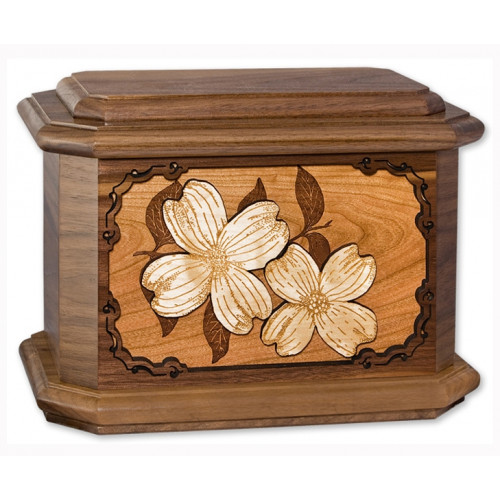 Dogwood Blossoms Cremation Urn for Ashes with 3D Inlay Wood Art - Walnut