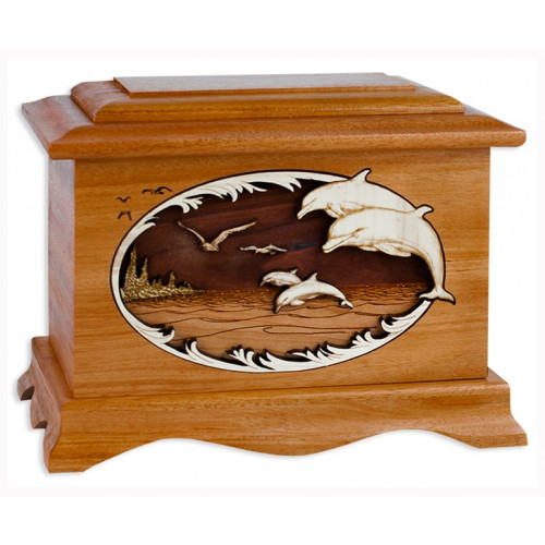 Dolphins Cremation Urn for Ashes with 3D Inlay Wood Art - Mahogany