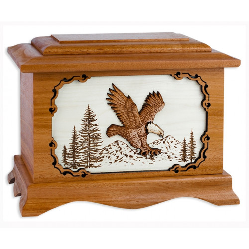Eagle Cremation Urn for Ashes with 3D Inlay Wood Art - Mahogany