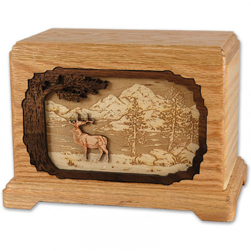 Hunter's Game Collection Urn with 3D Inlay Wood Art - Oak