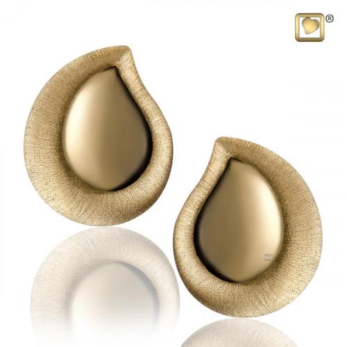 Gold TearDrop Two Tone Stud Earrings
