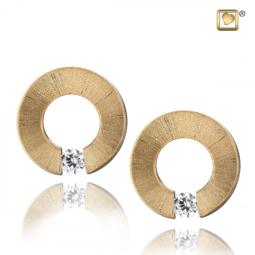 Gold Omega Two Tone Stud Earrings with Clear Crystal