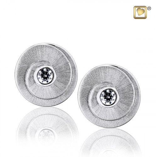 Silver Eternity Two Tone Stud Earrings with Clear Crystal