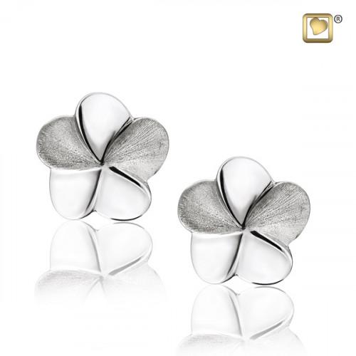 Silver Flower Bloom Two Tone Stud Earrings