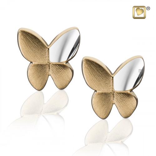 Gold Butterfly Two Tone Stud Earrings