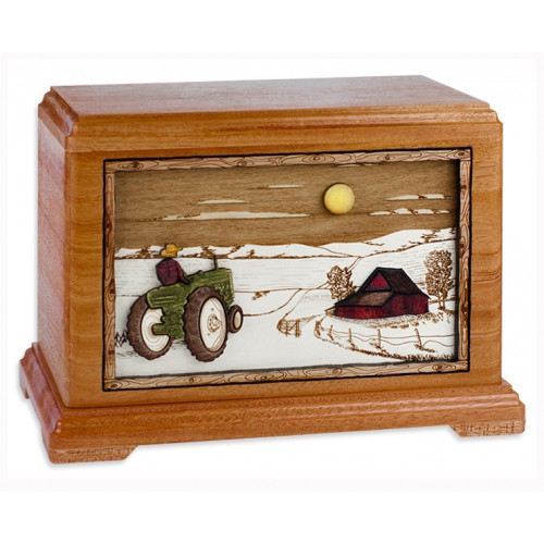 Farm and Tractor Cremation Urn for Ashes - Mahogany