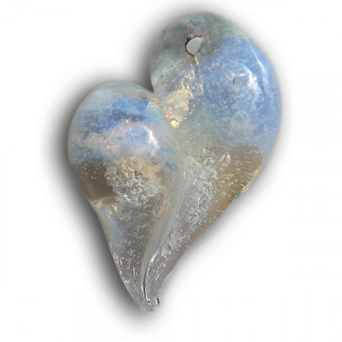 Misty White Heart Cremation Pendant