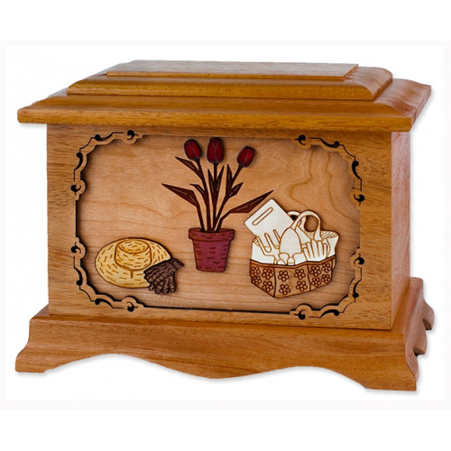 Gardening Urn with 3D Inlay Wood Art - Mahogany