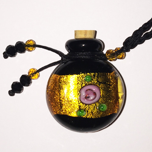 Dichroic Gold Band Glass Bottle Cremation Pendant that holds the ashes of your loved one
