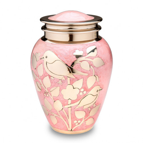 Gold Blessing Birds Cremation Urn for Ashes