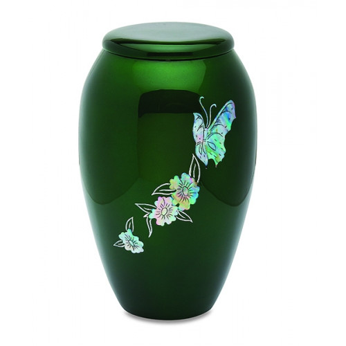 Green Butterfly Cremation Urn for Ashes