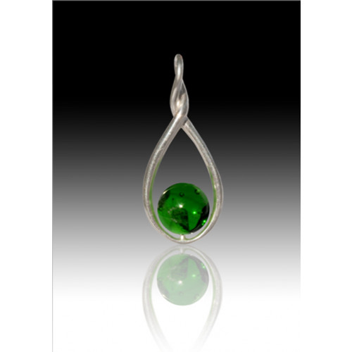 Melody Twist Cremation Pendant - Green - Sterling Silver