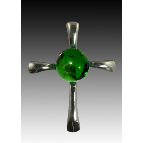 Symphony Cross Pendant - Green - Sterling Silver