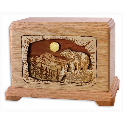 High Country Haven Bears Cremation Urn for Ashes - Oak