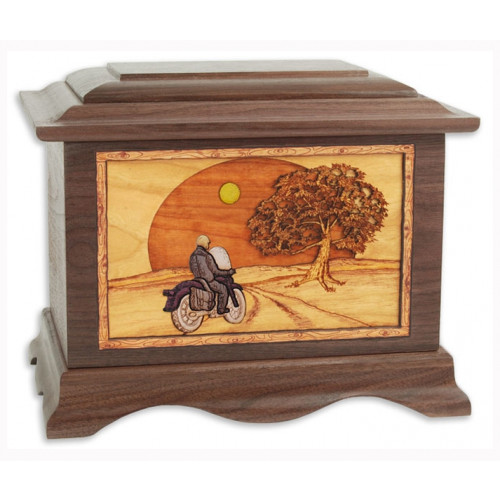 Heartland Motorcycle Cremation Urn for Ashes with 3D Inlay Wood Art - Walnut