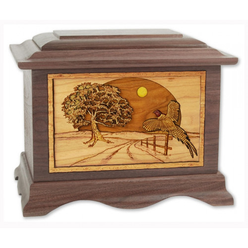 Heartland Game Bid Collection Cremation Urn for Ashes with 3D Inlay Wood Art - Walnut - Pheasant